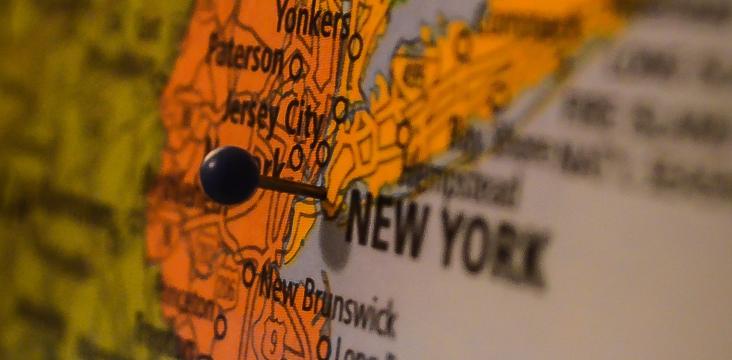 New York sur une carte