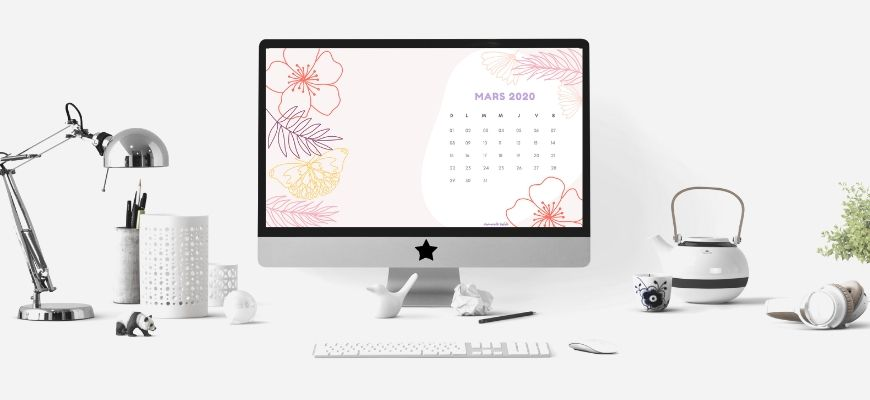 calendrier de mars 2020 à imprimer