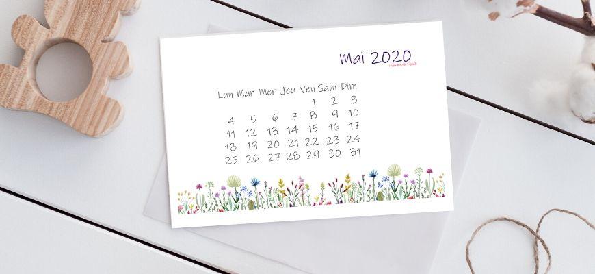 calendrier de mai 2020 à imprimer